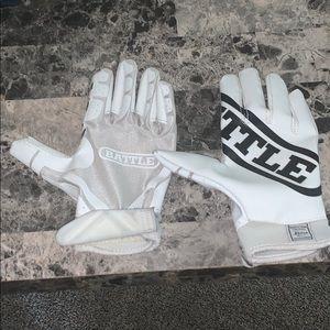 White/Black Battle Sports Football Gloves